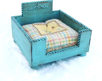 Dog Bed, Cat Bed, Wood Dog Bed, Wood Cat Bed, Shabby Cottage Pet Bed Blue Custom
