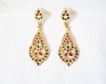 Festive, Christmas coloured bright red, green and yellow gold tone drop pendant statement shoulder duster earrings