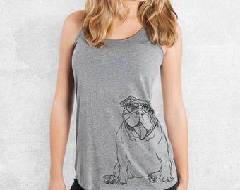 Tank The English Bulldog - Tri-Blend Racerback Tank - 7 Color Options - Dog Mom Shirt, Dog Lover Gift, Dog Mama TShirt, Love My Dog, bulldog