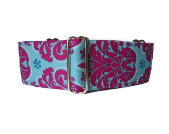 2 Inch Martingale Collar, Damask Martingale Collar, Hot Pink Dog Collar, Damask Dog Collar, Greyhound Martingale, Sighthound Collar