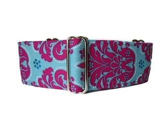 2 Inch Martingale Collar, Damask Martingale Collar, Hot Pink Dog Collar, Damask Dog Collar, Greyhound Martingale, Sighthound Collar