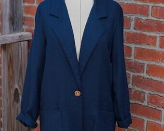 Vintage Navy Blue Blazer, Vintage Suit Jacket, Minimal Blazer, Minimal Suit Jacket, Navy Blazer
