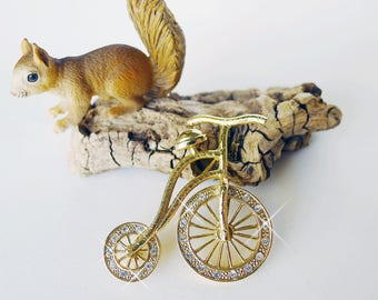 Bicycle Pin, Free Shipping, Old Fashioned Tricycle, Old Fashioned Bicycle, Bike Jewelry, Penny Farthing Pin, Velocipede Rhinestone Brooch,