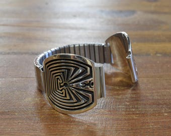 Vintage Hopi Sterling Silver Overlay Man in the Maze Watch Band by Floyd Namingha Lomakuyvaya