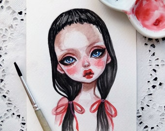 Original watercolor art in the format of a postcard. Baby.