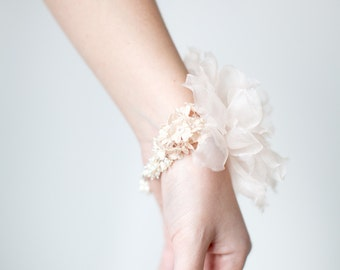 Bridal Bracelet, Silk Flower Corsage, Pearl & Floral Wrist Corsage - Style 333