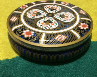 Vintage old round tin made in England chocolate tin box tin container