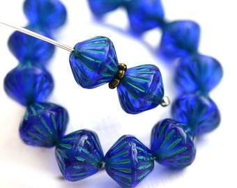 9mm Dark Blue Bicone beads, Green Stripes, czech glass beads - 20Pc - 2895
