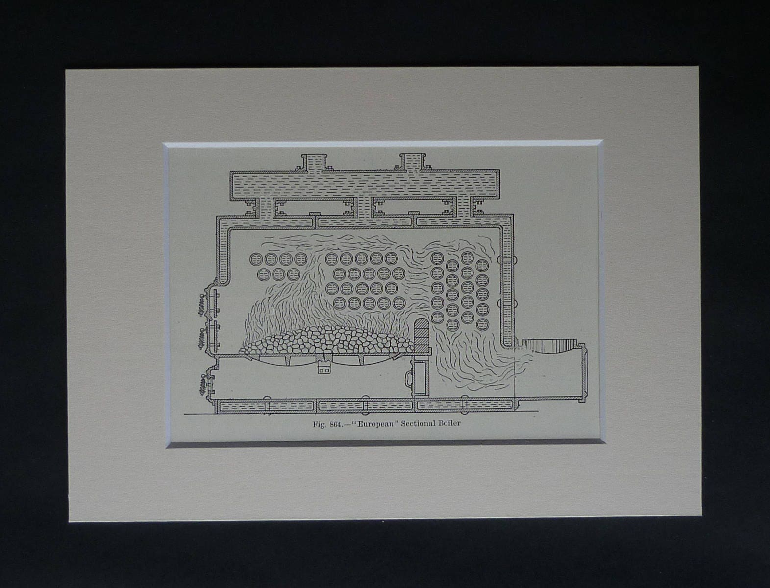 1907 Antique Plumbing Print of a European Section Boiler