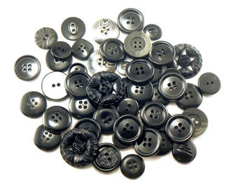 50 Black Flat Button Mix - Crafting Buttons - Mixed Black Buttons - Bulk Black Buttons - Buttom Mix - Assorted Buttons