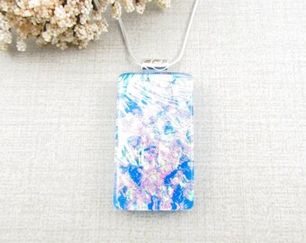 Square Fused Dichroic Pendant - Blue, Gold, Green and Cherry Dichroic Glass Pendant - Layered Fused Glass Necklace - Dichroic Jewelry