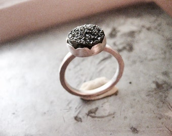 Black Quartz Druzy Sterling Ring