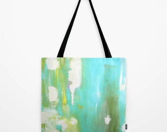 Tote Bag in green, an image of an original abstract painting printed on the tote bag