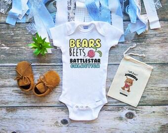 Bears Beets Battlestar Galactica Onesie - Dunder Mifflin Baby - Baby Clothes - The Office Onesie - Michael Scott - Dwight Schrute - M356