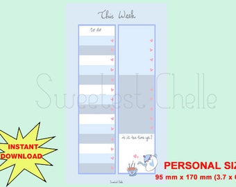 Cute Printable Personal Size Page - Printable To Do List - Cute Tea Time Design - This Week's To Do List - Reminder - List - Checklist