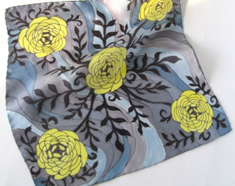 Pocket square yellow grey - Art pocket square for men - Silk pocket square - Floral handkerchief - Hand painted  pocket square Roses flowers