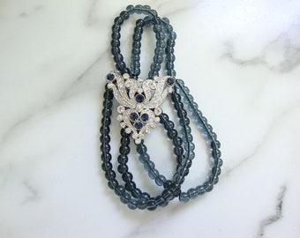 Art Deco Sapphire Pendant, Flapper Montana Glass Beaded Chain, 1920s Fine Art Deco Rhinestone Jewelry, Antique Wedding Jewelry