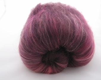 Merino Finnish Batts 100g Damson / Wool Spinning Fiber Black Peach Coral Pink Purple Magenta