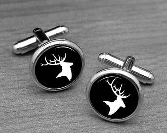 Deer Cufflinks, Mens Wedding Cufflinks Rustic Mens Accessory, woodland wedding, Men Gift, Cufflinks for Him, Hunting Cuff links 19mm