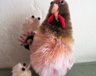 Vintage Chicken, Hen and Chicks, Fuzzy Chicken, Cute Chicken, Cute Kawaii Zakka, Wire Legs, Chicken and Chicks, Vintage Craft Supply