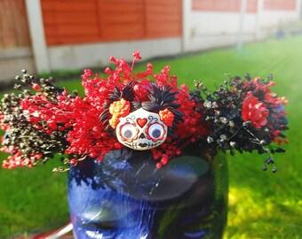 Halloween Sugar Skull flower Circlet Wreath