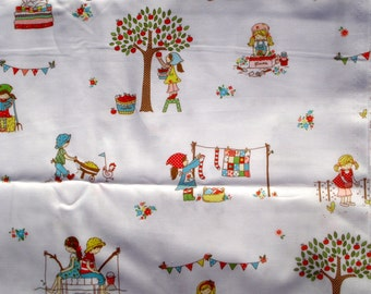 SALE : The Simple Life Tasha Noel Riley Blake fabric children on white FQ or more