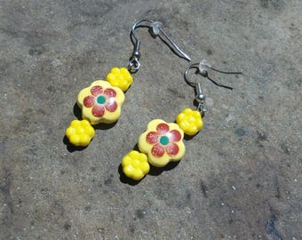 Orange and Yellow Flower Earrings