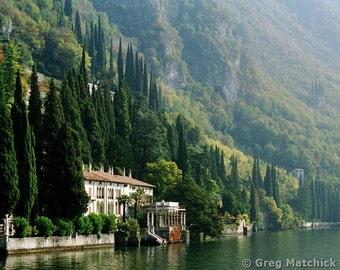 """Fine Art Color Landscape Photography of Lake Como Scene - """"View of Villa Monastero"""" (Italy)"""