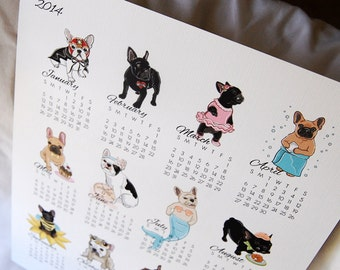 2014 French Bulldog Calendar Print - Eco-Friendly 8x10 Size