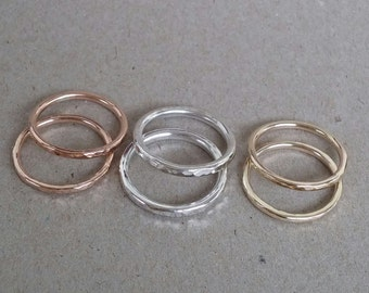 9ct yellow gold hammered stacking ring - made to order