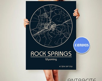 ROCK SPRINGS Wyoming CANVAS Map Rock Springs Wyoming Poster City Map Rock Springs Wyoming Art Print Rock Springs Wyoming