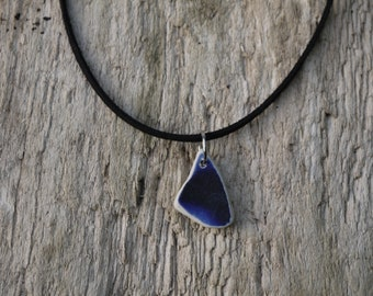 Double sided blue sea pottery necklace