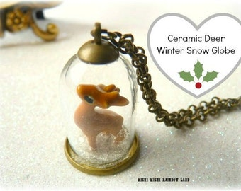 Winter Ceramic Deer Snow Glass Globe Necklace or Earrings - Gift box included