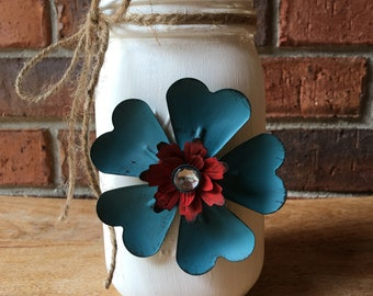 Painted Mason jar with flower