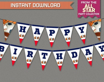 Sports Party Printable Birthday Banner with Spacers - INSTANT DOWNLOAD - Edit and print at home with Adobe Reader - All Star Banner