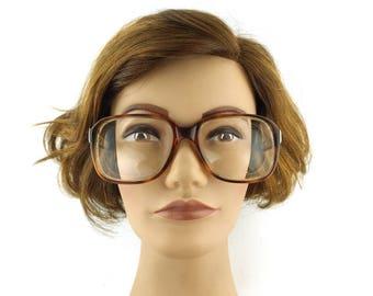 oversize. eyeglasses. vintage. brown. square. men. women. unisex. eye glasses. eyeglass frames. italian. gold. retro. [] 140mm