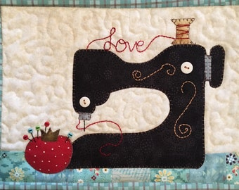 Sew in Love Sewing Machine Mug Rug PDF Pattern from Quilt Doodle Designs
