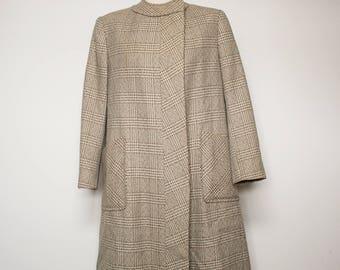 60s British mod plaid coat, tartan beige wool vintage coat, M