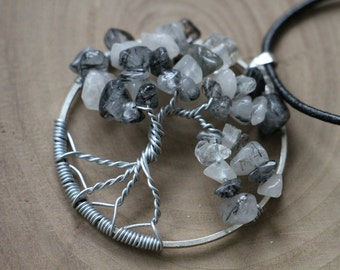 """Black Rutilated Quartz Tree of Life pendant / necklace - 45mm / 1.75"""" - with leather necklace"""