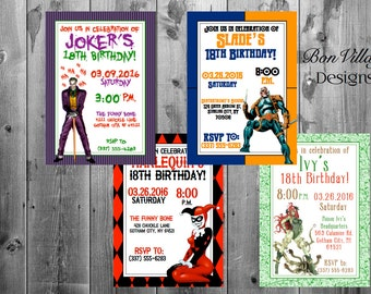 DC Comics Villains Birthday Invitations Digital Copy or Prints The Joker Harlequin Poison Ivy Deathstroke