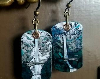 Winter Multnomah Falls - pdx hand-painted earrings - Portland, Oregon waterfall