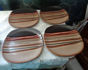 """Home Trends Bazaar Brown NOS Salad Plates Lot of 4 Multi-Color Wedges With Beige And Black Background 8-7/8"""" Wide"""