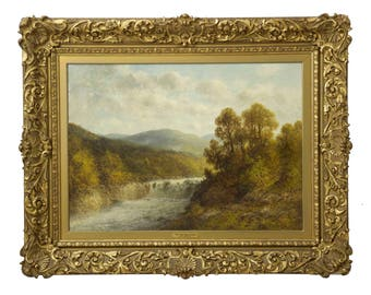 A Fine and Large Antique Landscape Oil Painting by Thomas B. Griffin (American, 1858-1918)