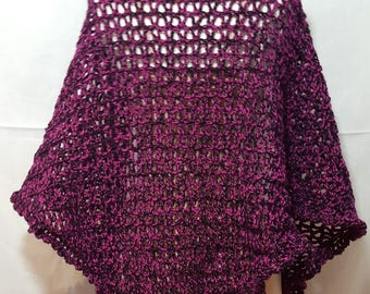 Handmade Crochet Shawl in Black and Pink wool