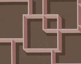 1950s Vintage Wallpaper Atomic Mid Century Pink and Brown by the Yard