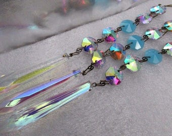 """3 Vintage AB Aurora Borealis & OPALINE Blue Iridized 3"""" Rainbow Sparkly SPEAR Point Crystal Prism with 14mm crystal prism Chandelier Boho"""