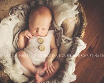 Cream Mohair Button Overalls Pants Newborn Photography Prop