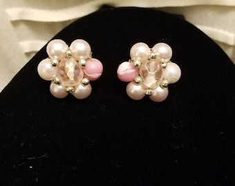 Vintage Faux Pearl and Pink Bead Clip On Earrings