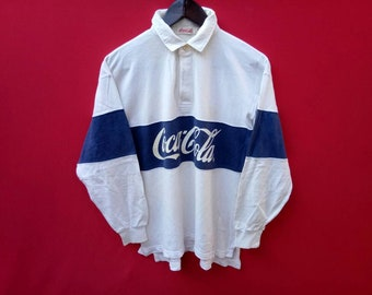 vintage coca cola rugby longsleeves polo medium size