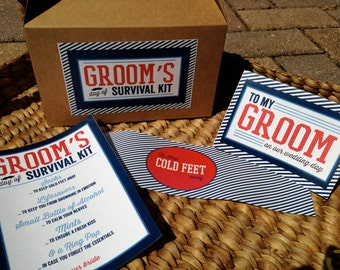 PRINTED Groom's Day of Survival Kit - 4 piece set